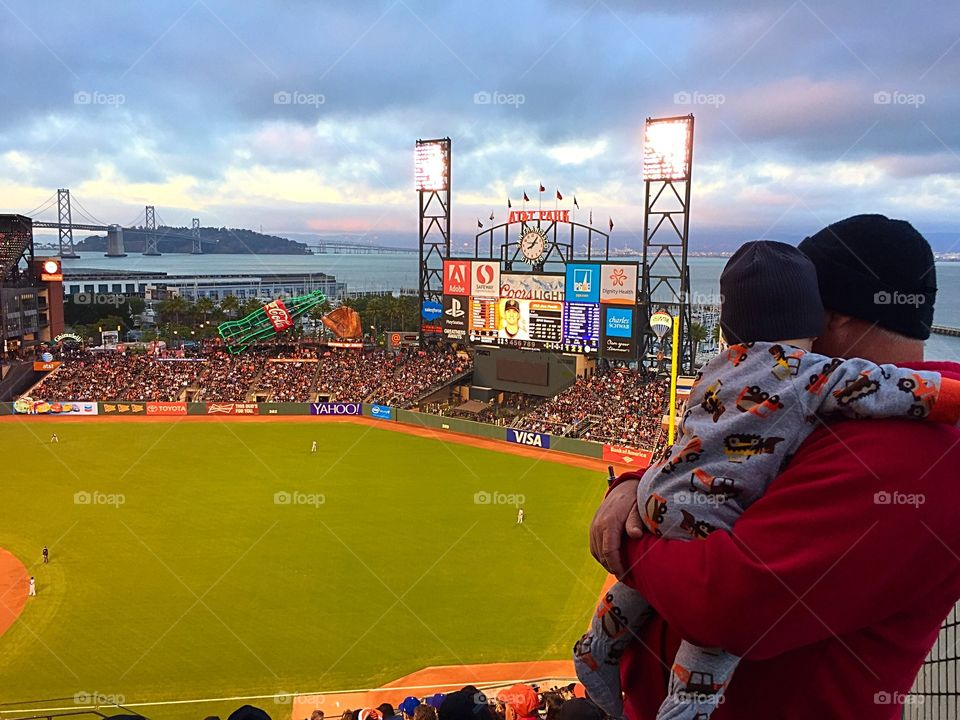 A Boy and his Grandpa. Watching the Giants game