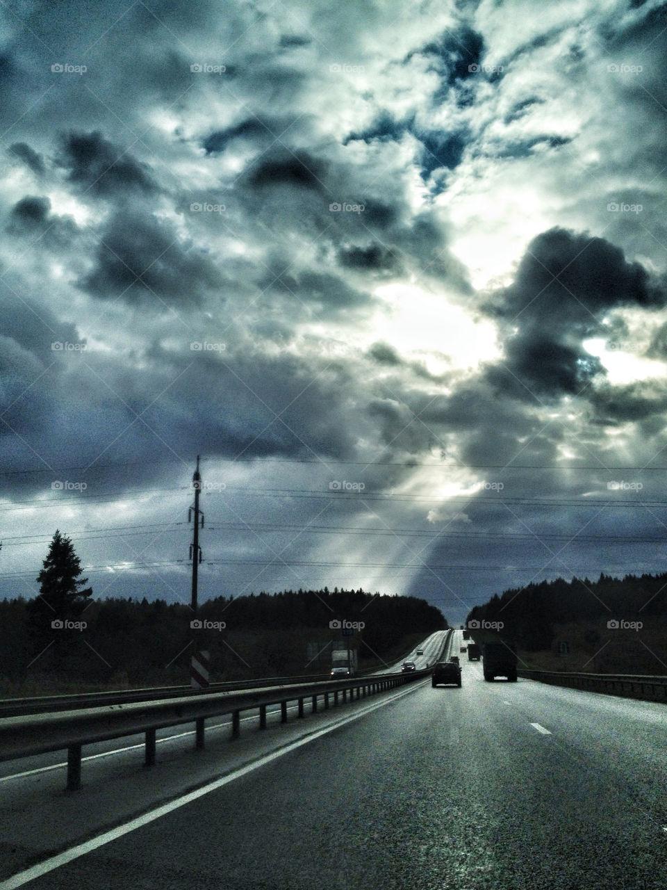 sky clouds sun forest by vsusov