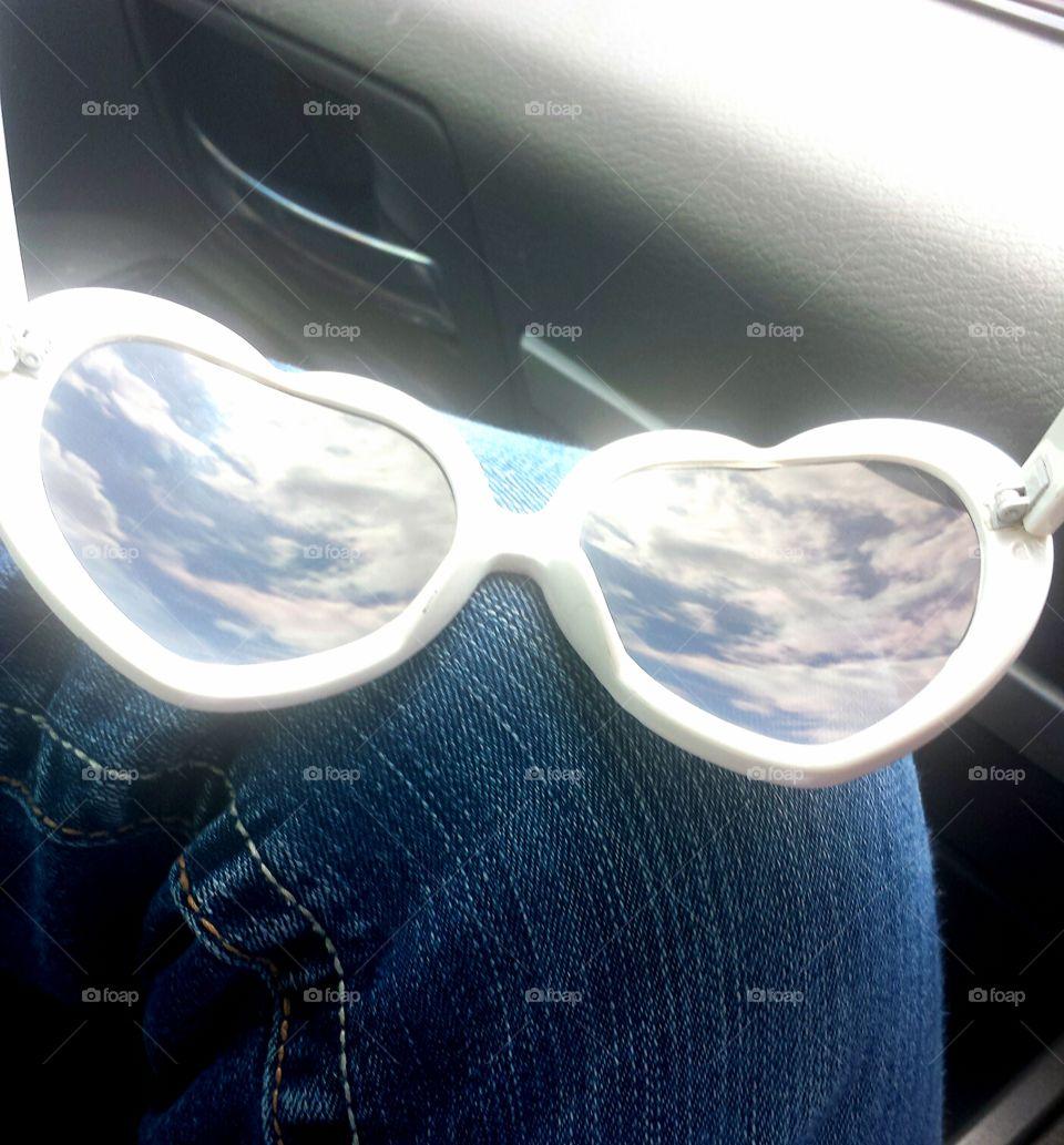 cloudy heart shaped sunglasses