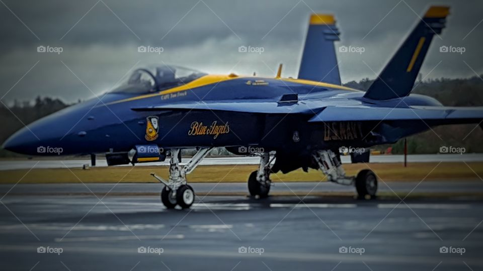 Blue Angel. Clouds where too low to fly, but it's easier to get photos when they are grounded. No complaints from this guy!