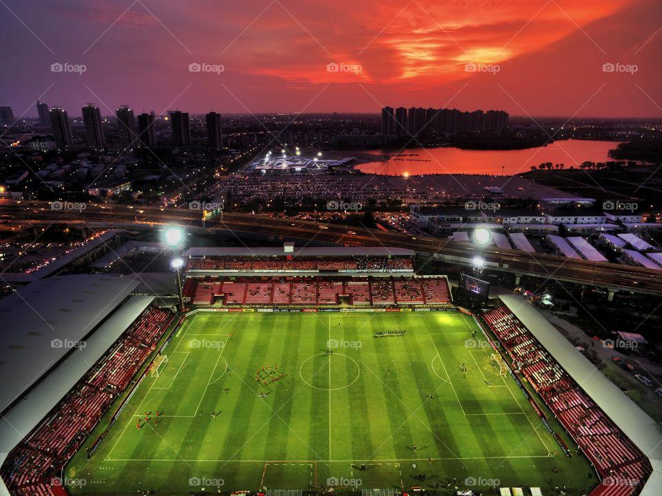 aerial drone view of SCG Muangthong Thani united football club stadium in Bangkok Thailand