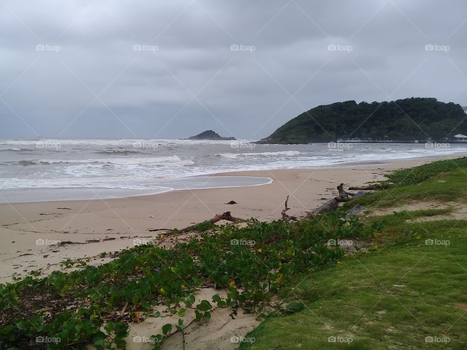 Rainy day on the beach.  Itanhaém Brasil.  Autumn