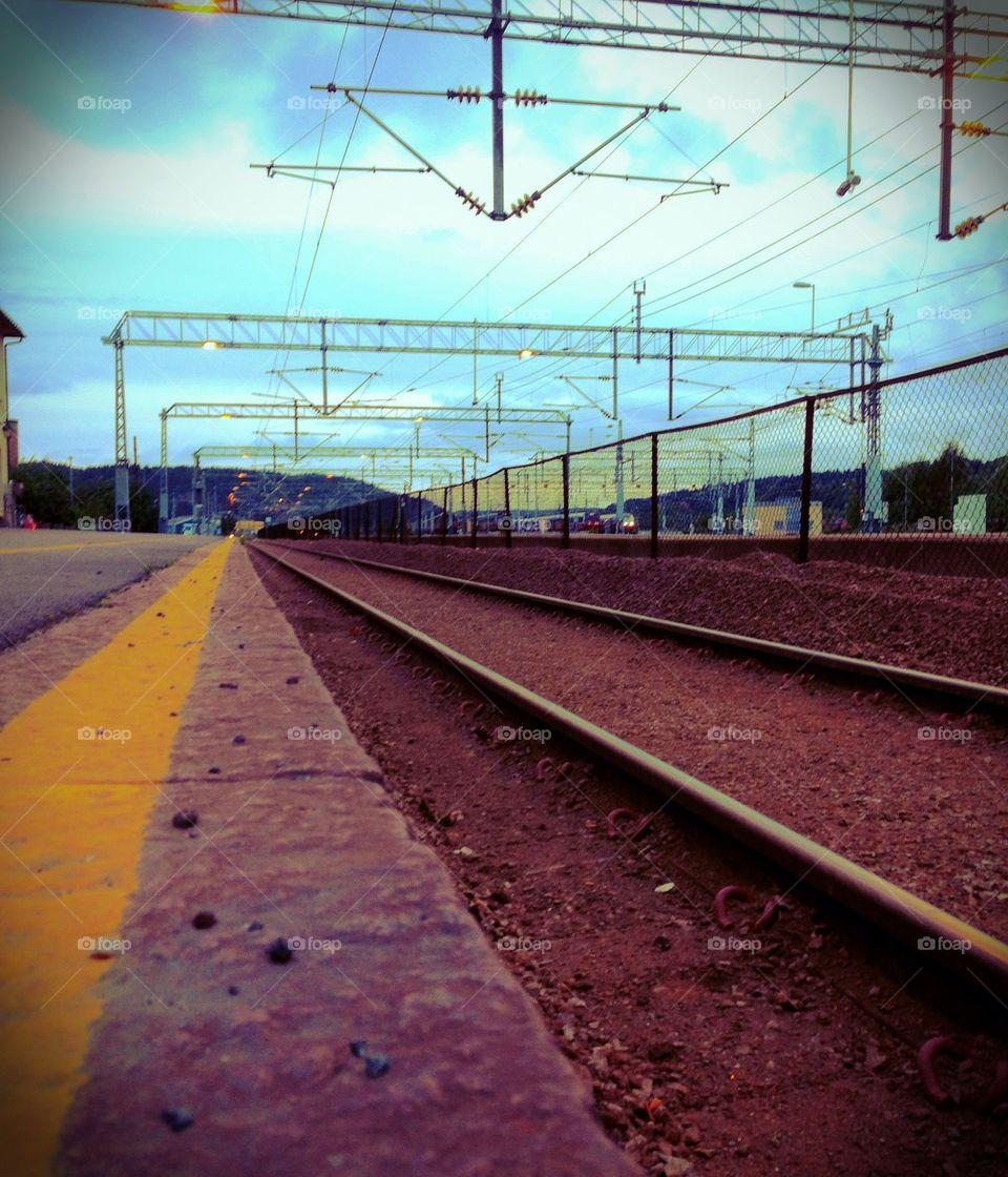 Train Station, Train, Dust, Rock, Railway, Fence