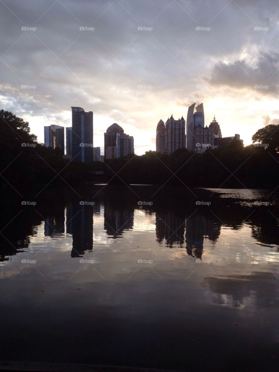 Peaceful lake at Piedmont Park in Midtown Atlanta