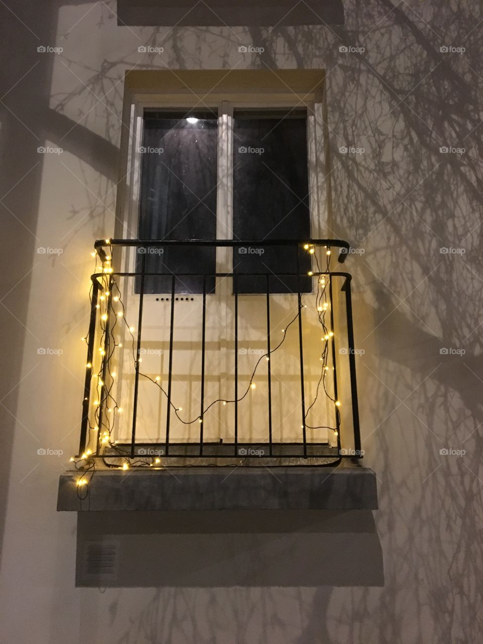 French balcony and lights