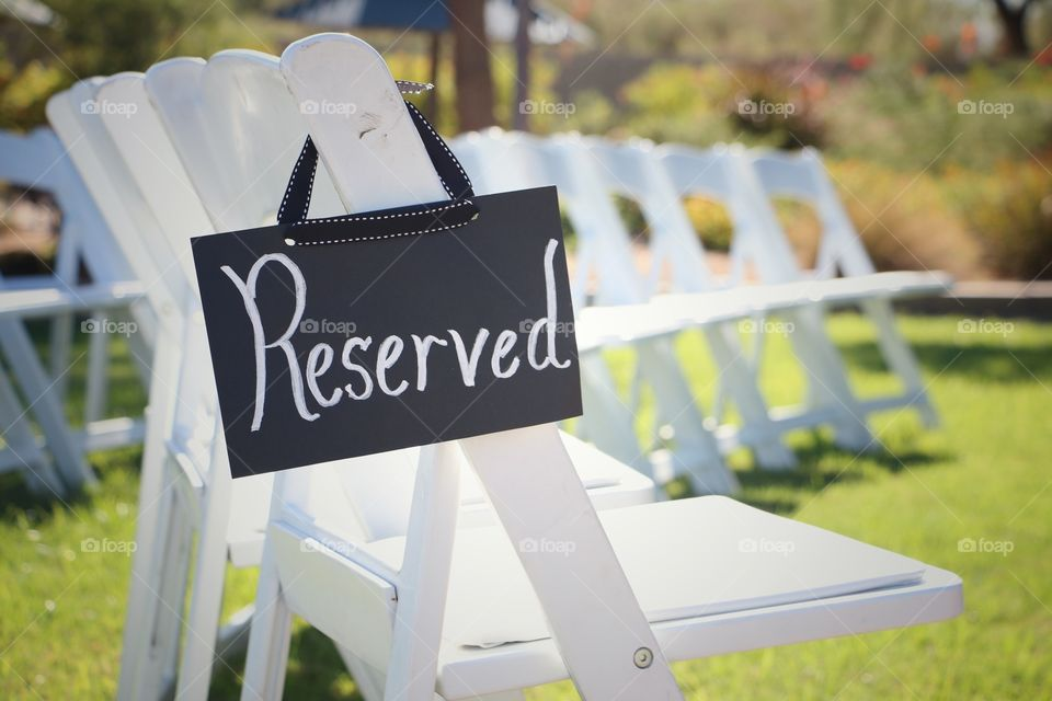 Reserved seating at a wedding