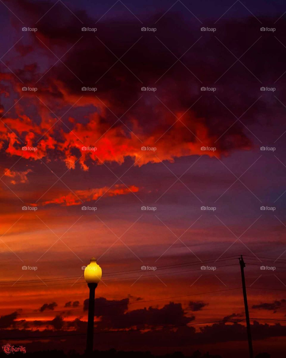 red sunset with lamp