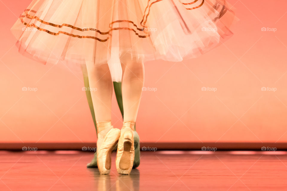 Classical Ballet Dancers Feet In Pointe Shoes