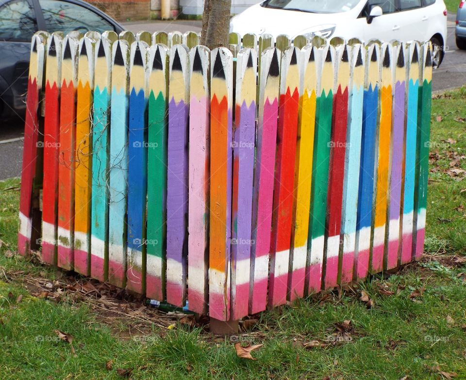 Pencil shaped fence at outdoors