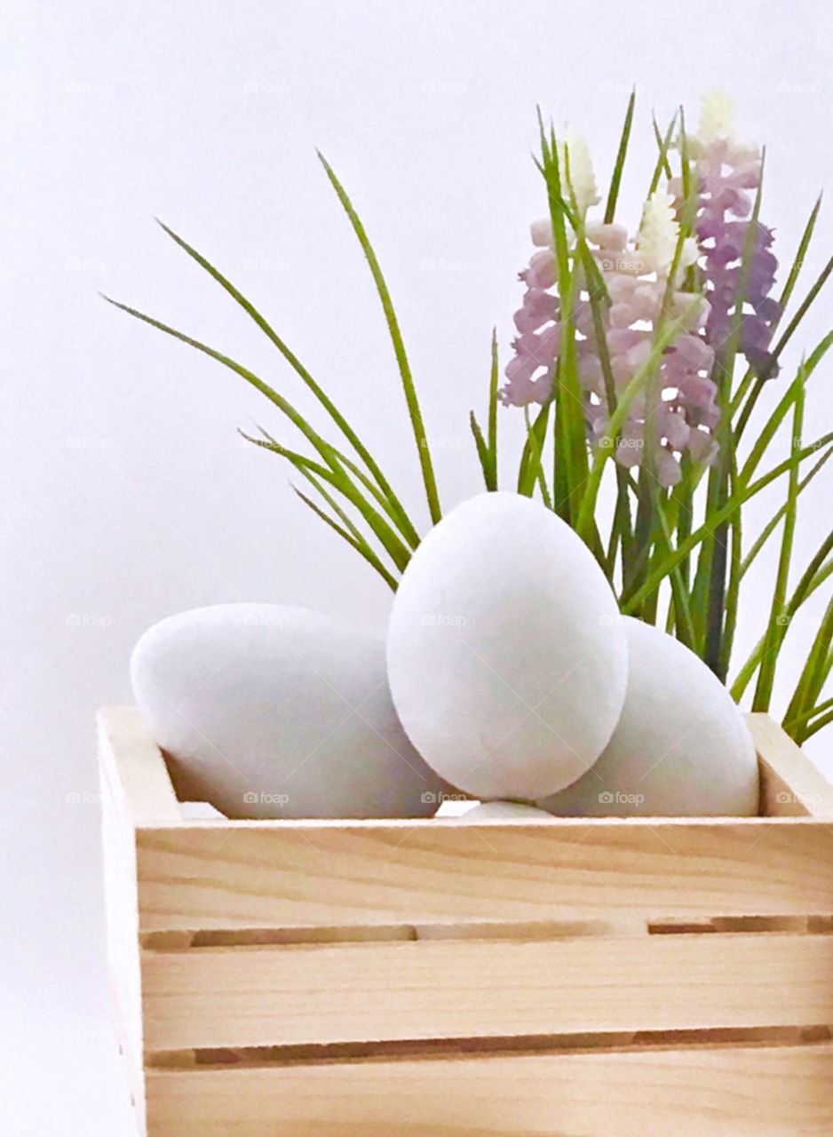 Egg in wooden container on white background