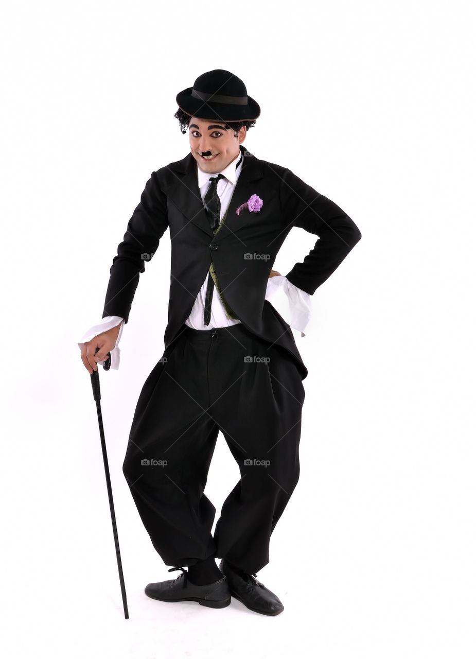 A person in charlie chaplin costume