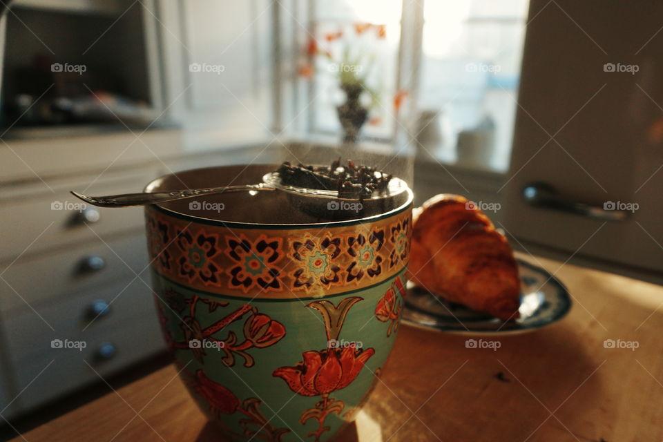 tea and croissant
