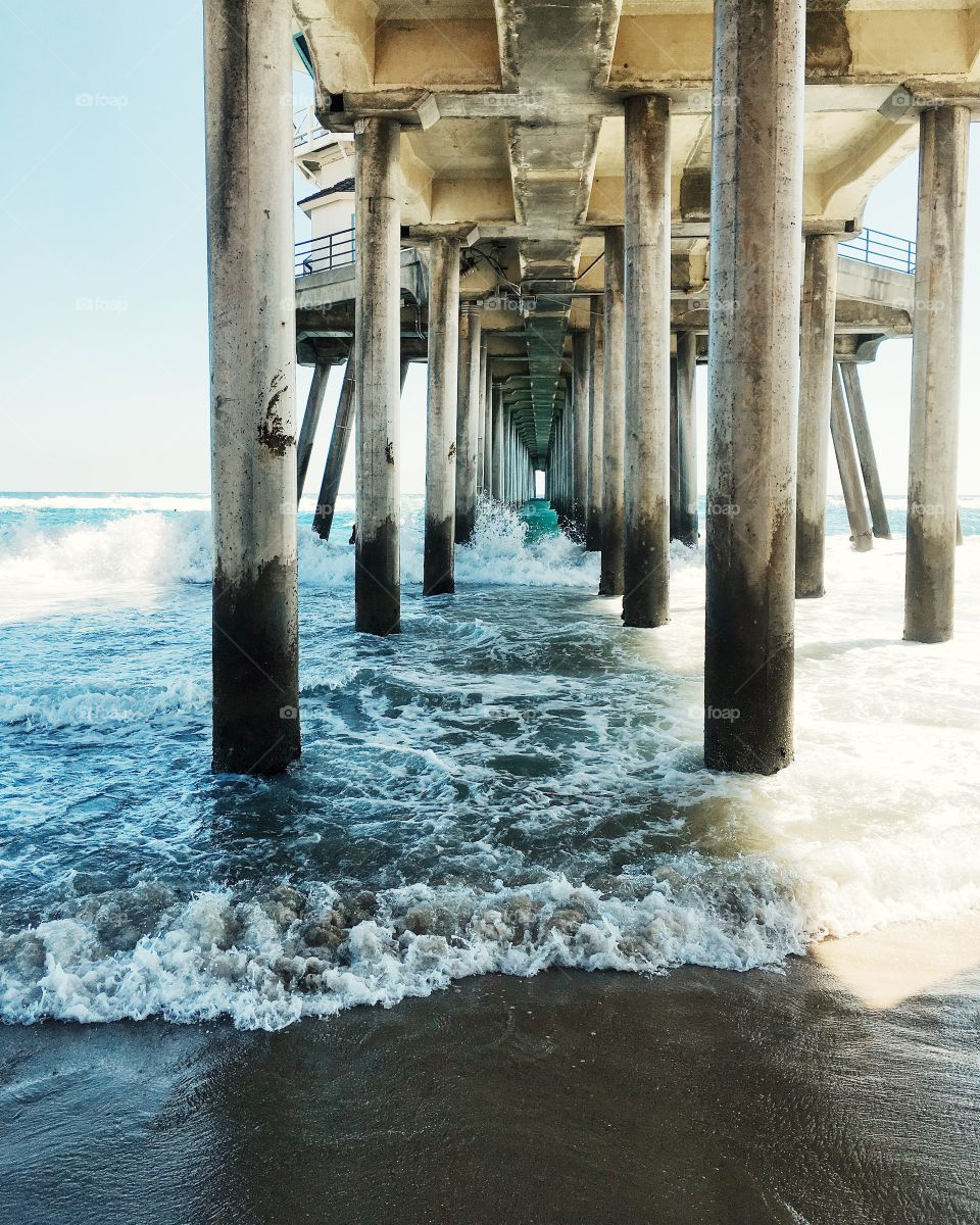 This is a photo I took under the Huntington Beach pier.