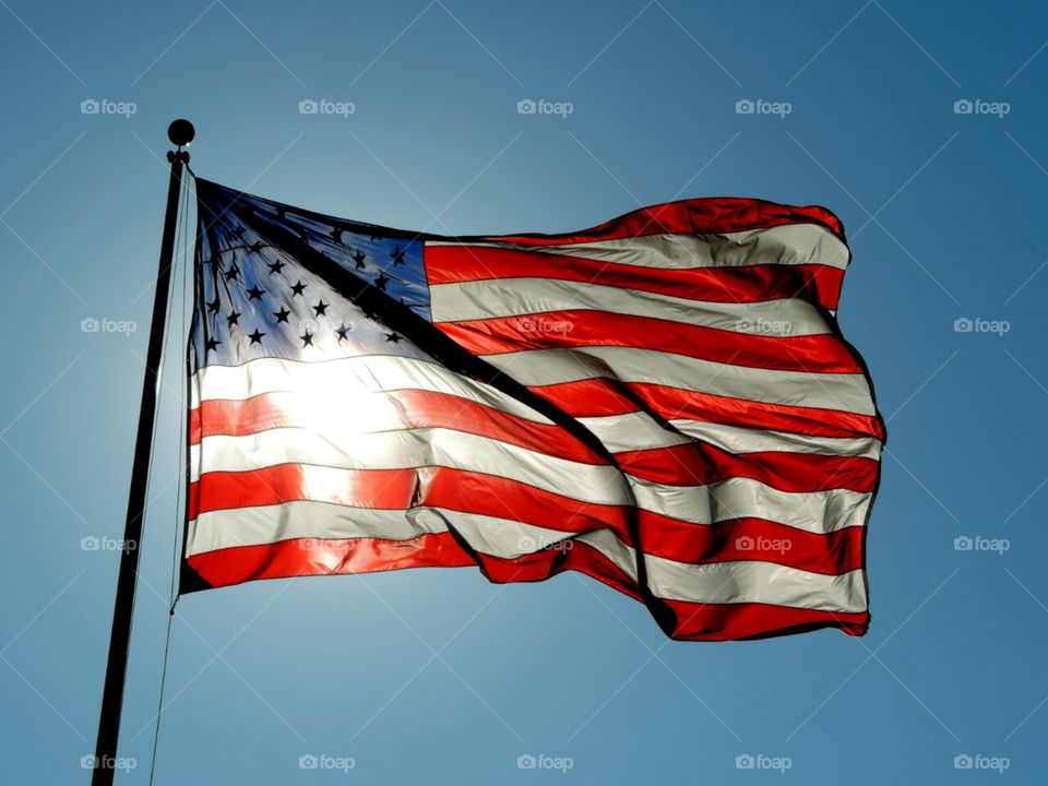 American Flag. old glory in a good breeze