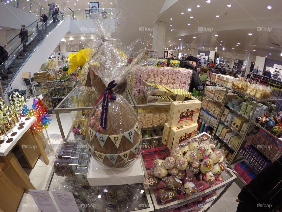 Easter eggs and chocolates in a store