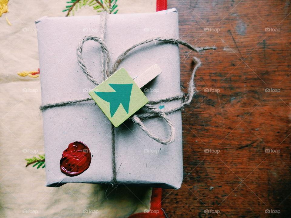 High angle view of christmas gift