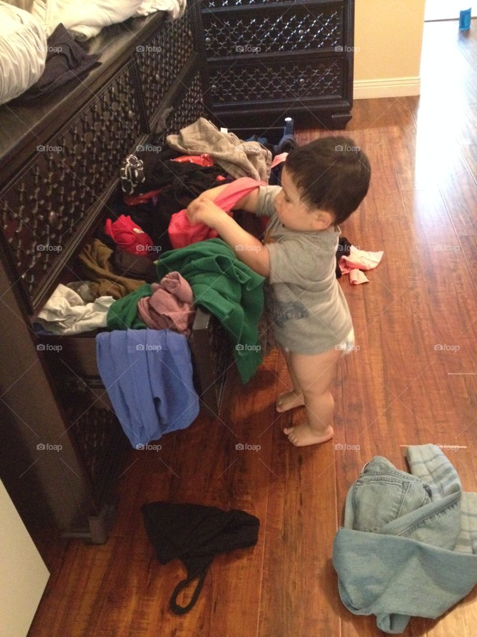 Making a mess. Clothes