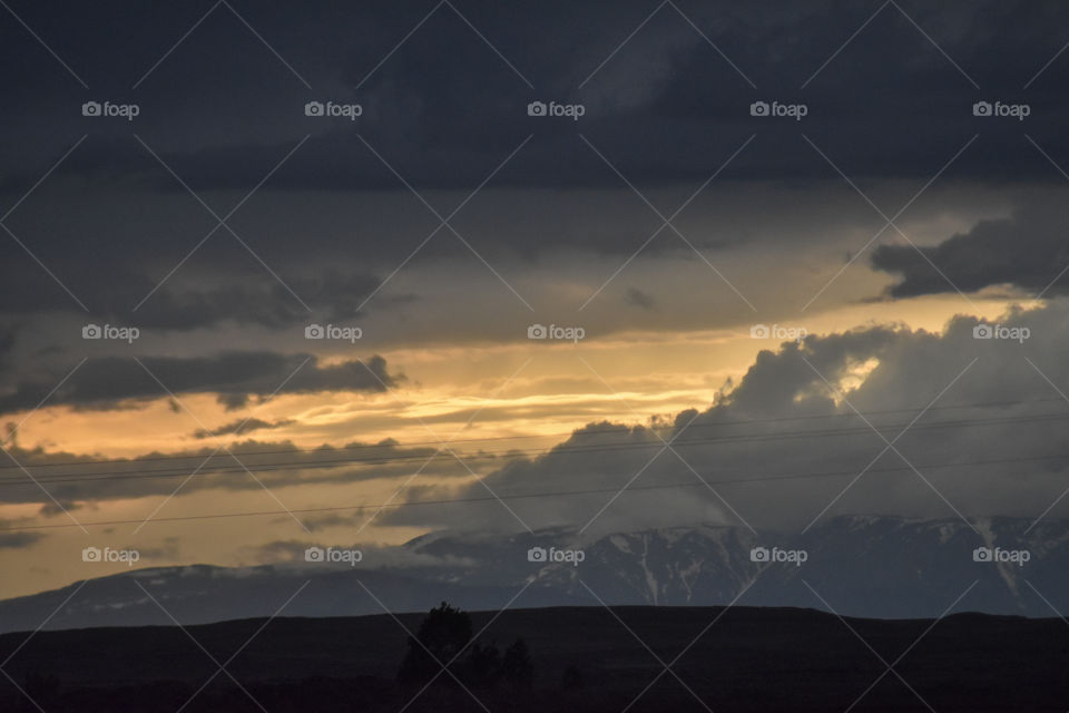 beautiful mountain sunset in Wyoming