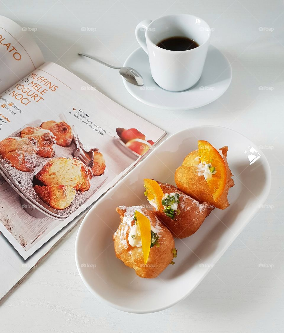 Pastries with coffee