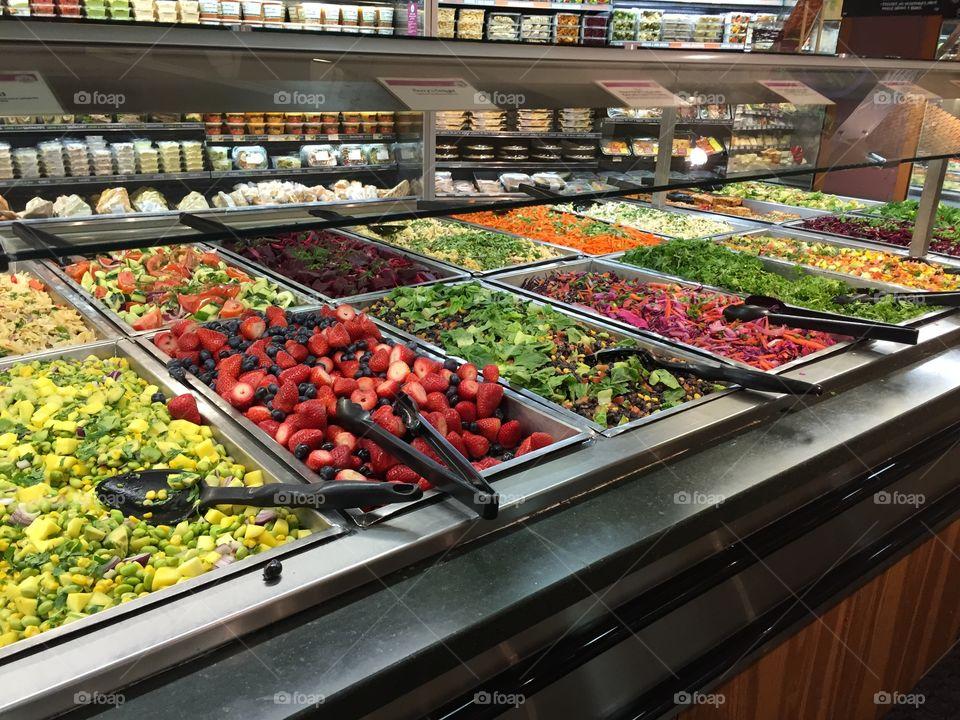 Salad bar. Healthy foods