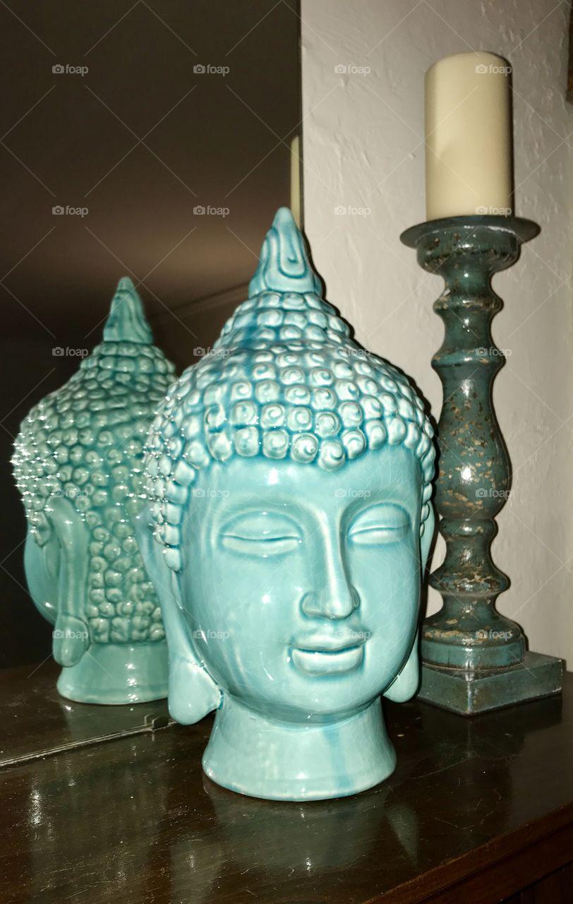 Tibetan art head statue and turquoise candlestick holder decor