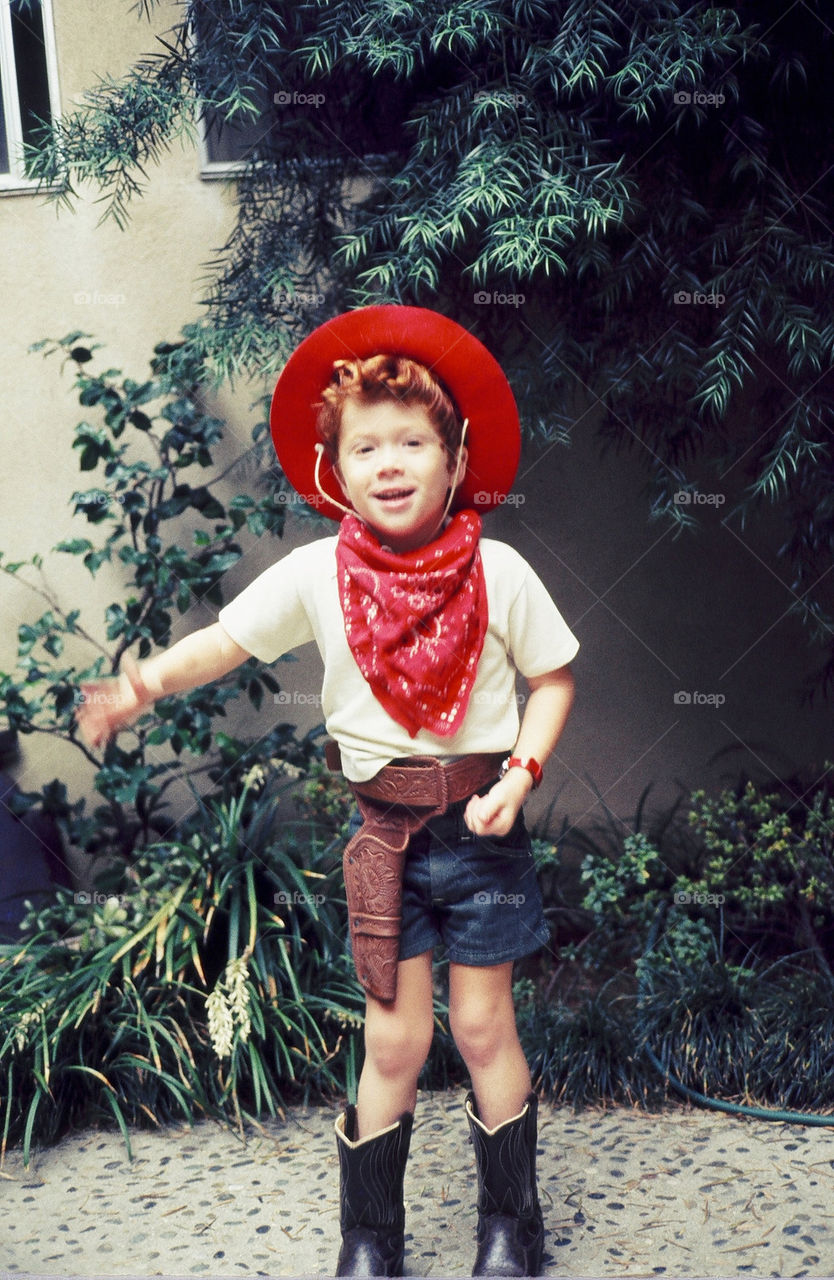 Cowboy day red hair, red hat and red hanky.'