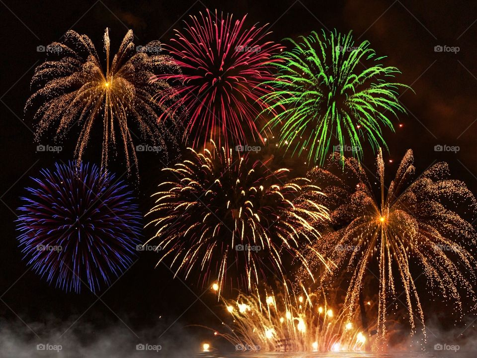 Fireworks display. Multicolored fireworks display