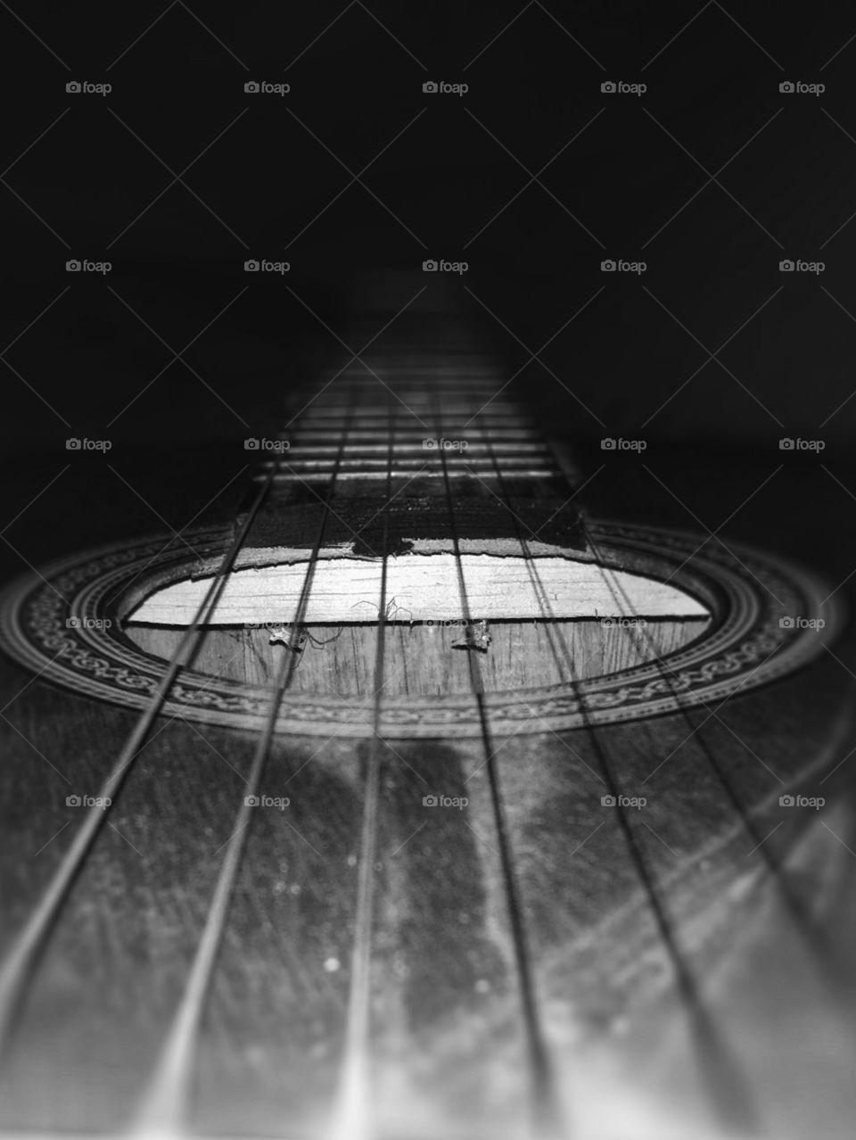 Guitar, Instrument, Music, Sound, Monochrome