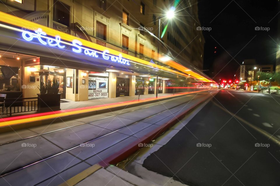 Light Rail passing by in Downtown Phoenix