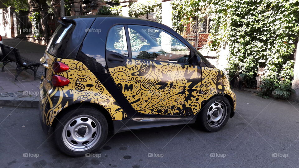 Decorated small car