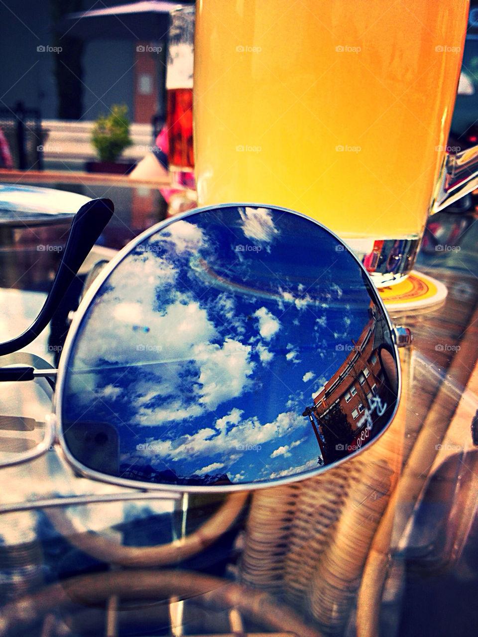 glasses sky yellow blue by iDavidHD