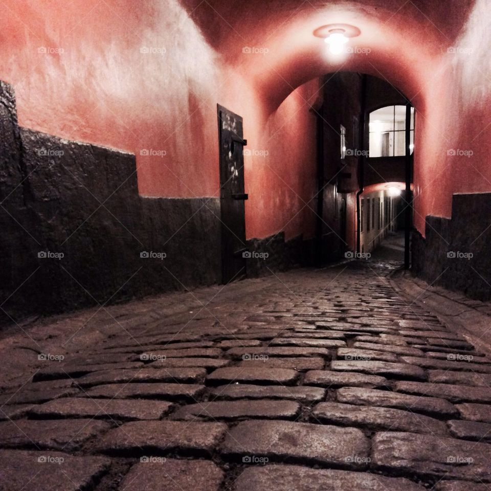 Tunnel in the Gamlastan. Thick street tunnel in the Stockholm city center Gamlastan