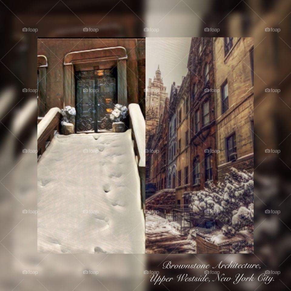 Brownstone Architecture, Snow, Upper Westside, New York City.