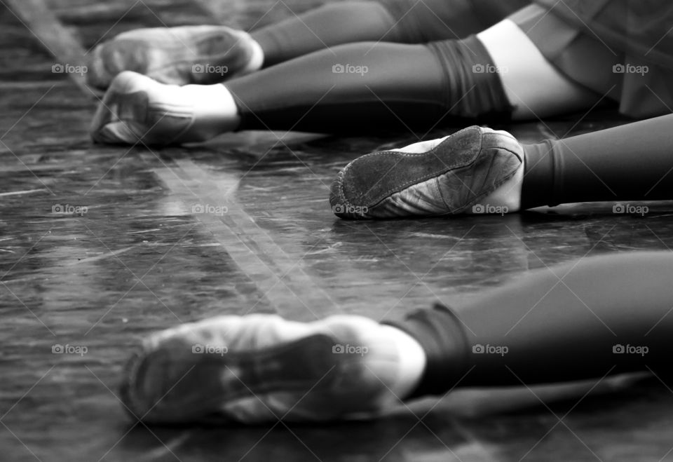 Ballet dancers shoes right before the start of their routine
