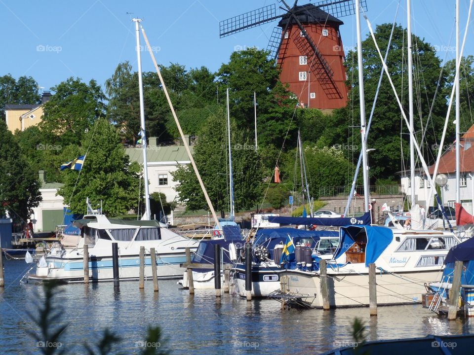 Harbour and a windmill | sweden, boats, tourism, boat