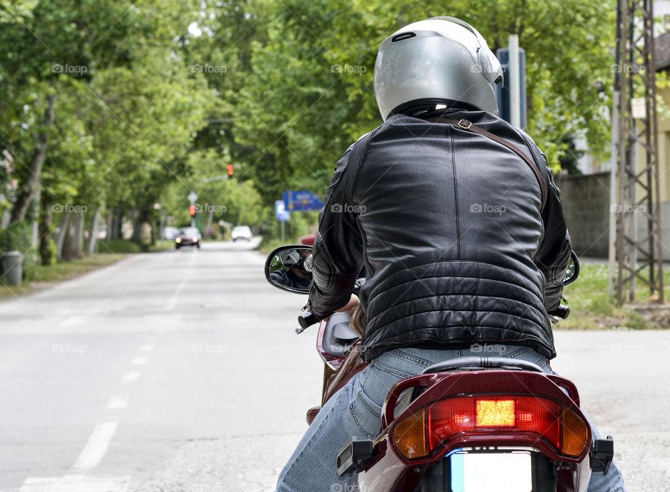 motorcyclist on his bike
