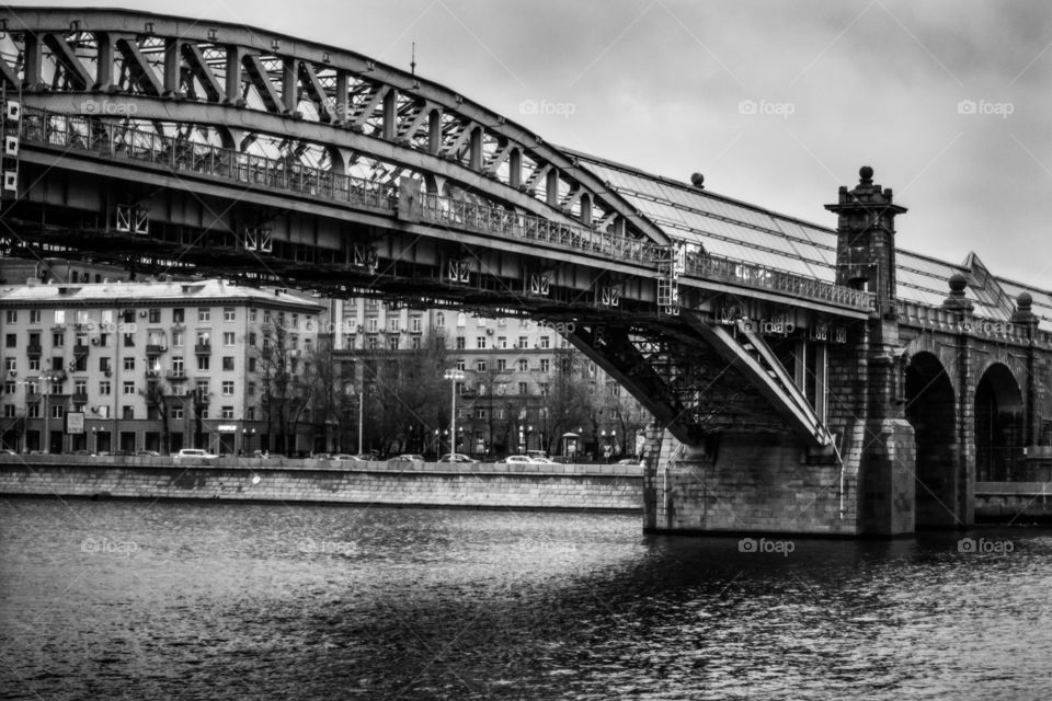 Black and white Moscow architecture , Russia