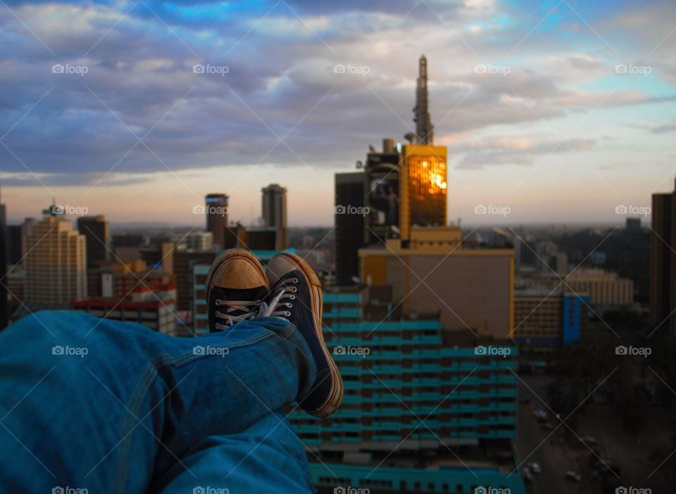 Watching the setting sun over Nairobi