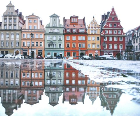 Wroclaw in a puddle.