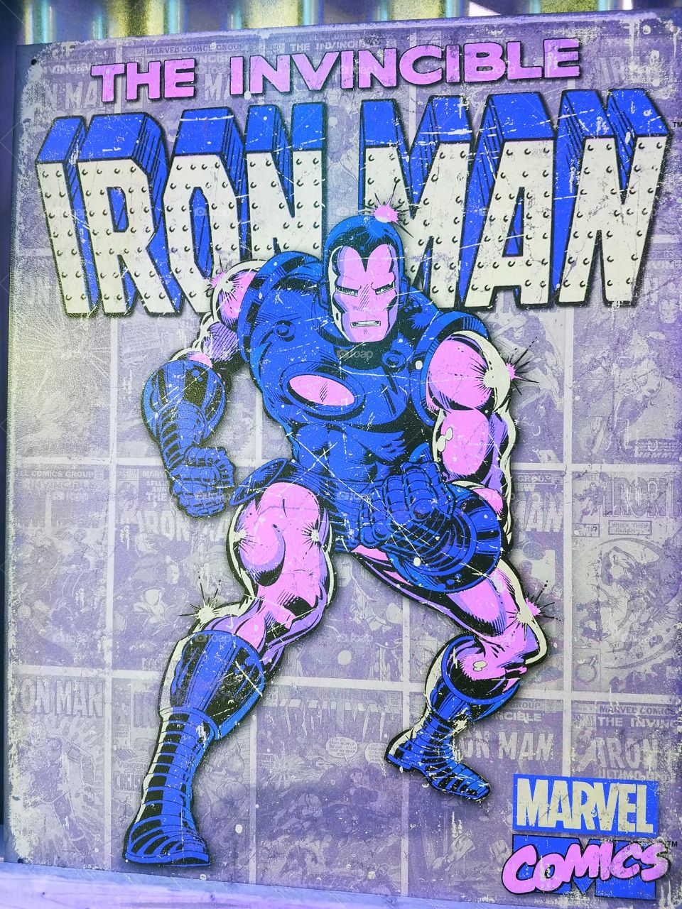 The Invincible Iron Man - Marvel Comics. Purple and Blue Poster.
