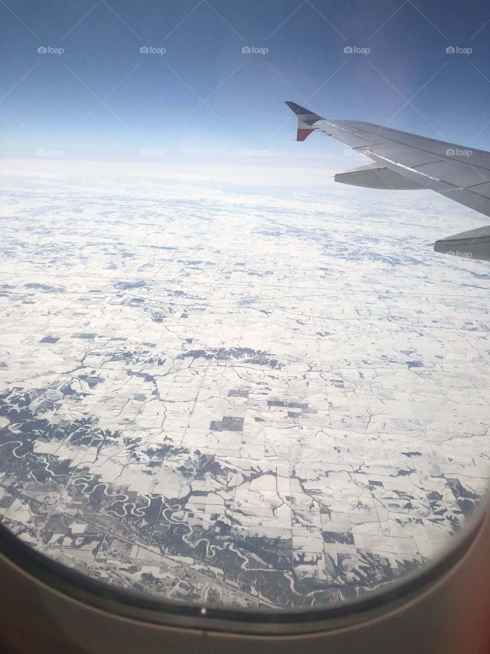 Flying over to Las Vegas from New York sore this view , snow everywhere.