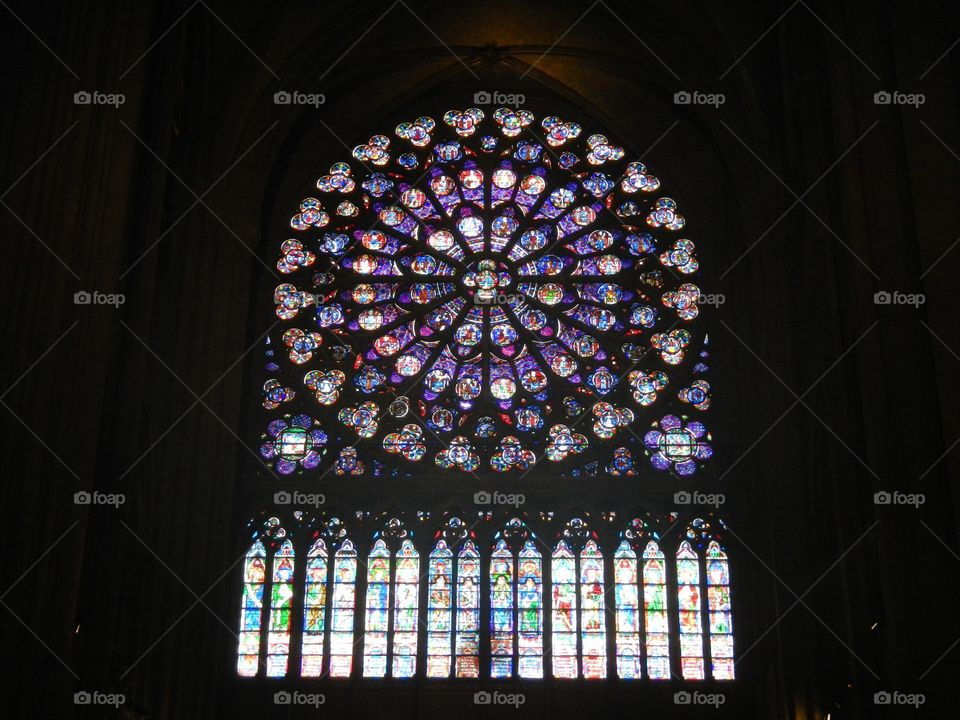 The famous window in The Cathedral of Notre Dame, in Paris, France. May 2012. Copyright © CM Photography 2012. @chelseamerkleyphotos on Foap.