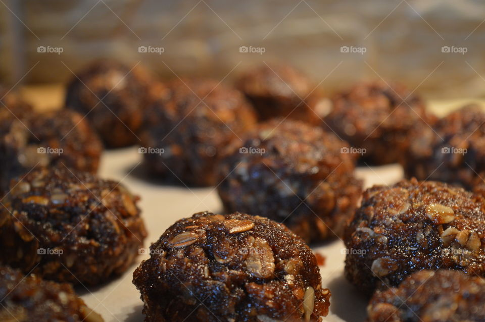 chocolate balls with nuts and raisins