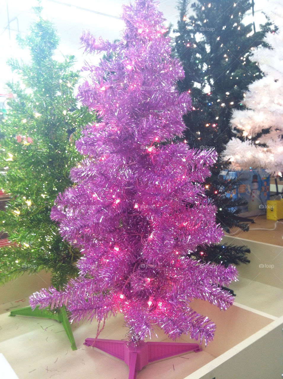 christmas tree merry christmas pretty lights pink green white by savanahwhite