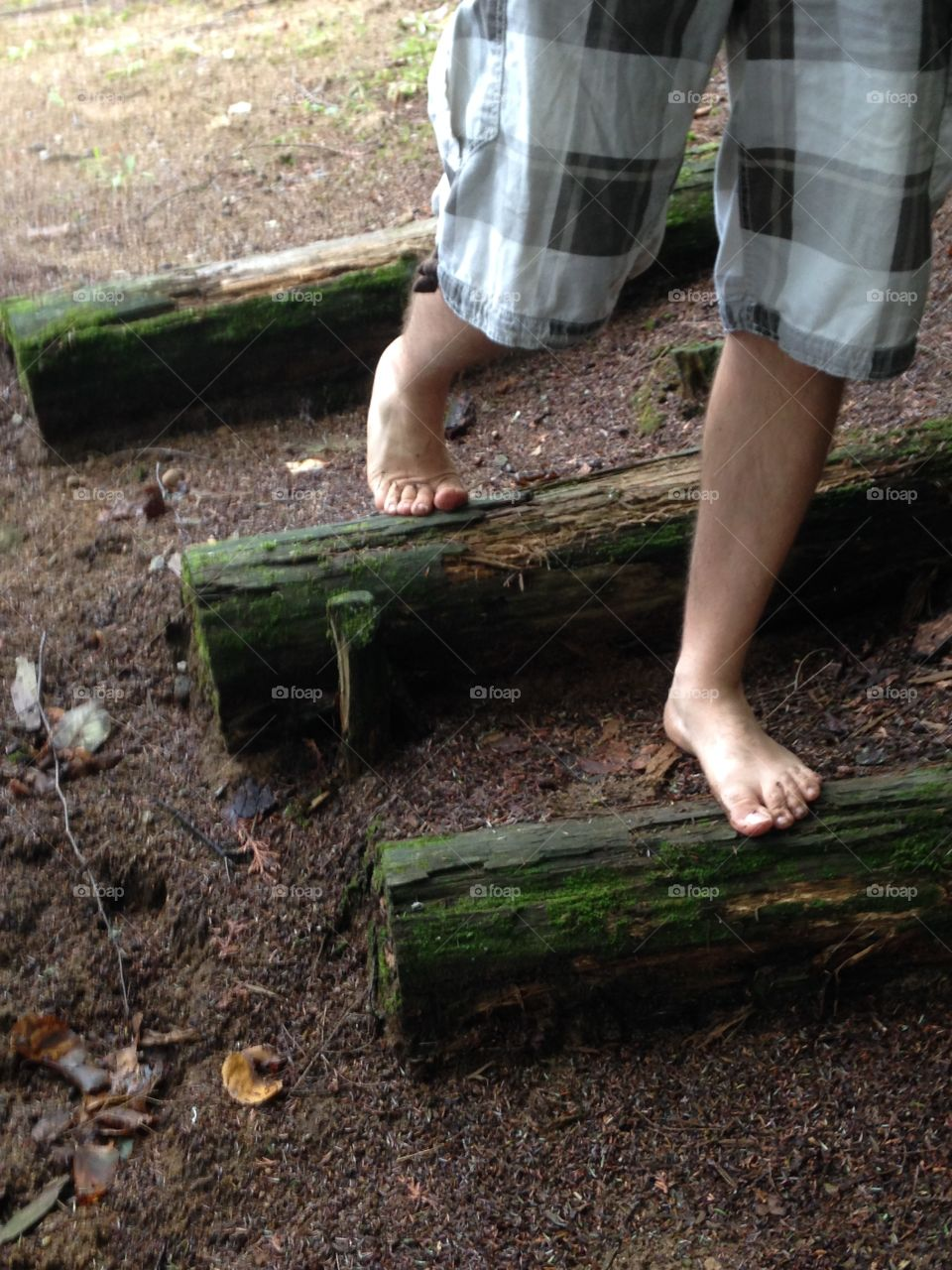 Walking in the woods barefoot