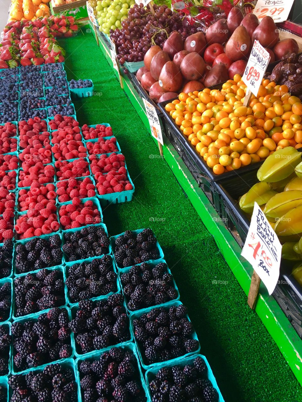 Variety of fruits for sale in market