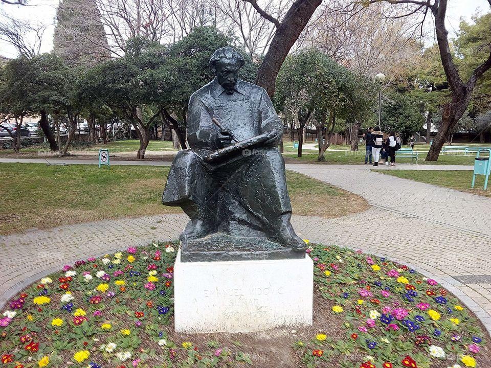 The Statue of Croatian Painter Emanuel Vidovic