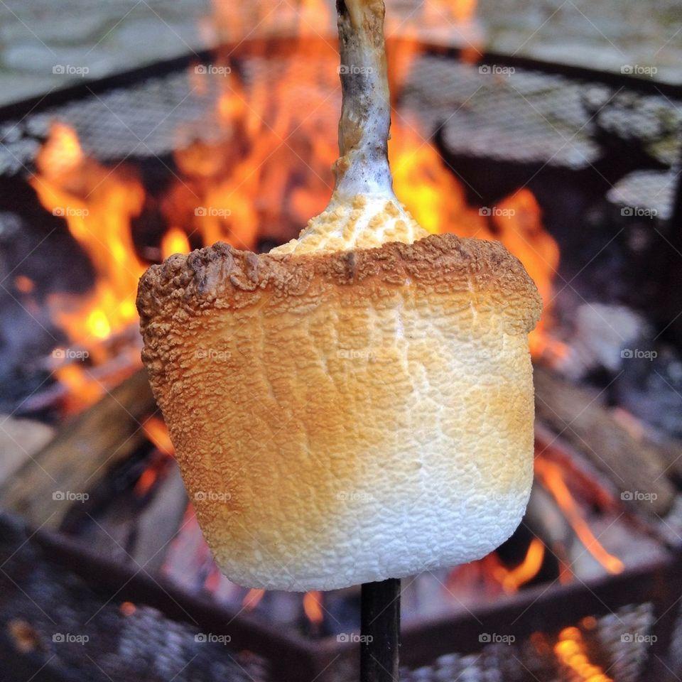 Marshmallows roasting over bonfire