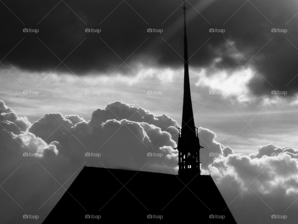 sky sun church rain by Bea