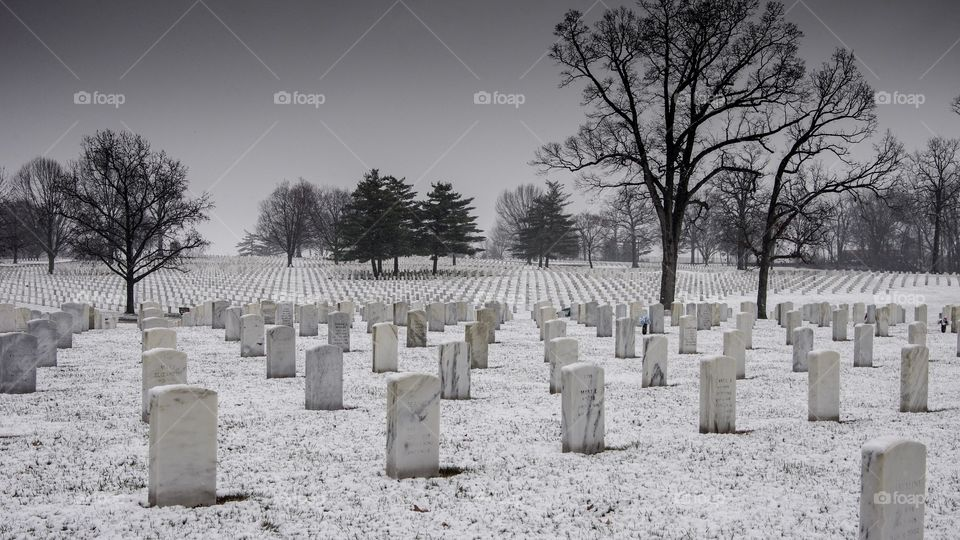 Snow falling on white marble headstones in National Veterans Cemetery and memorial